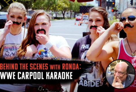 Go Behind the Scenes of Carpool Karaoke with Ronda Rousey, the Horsewomen  ... and Paul Heyman?